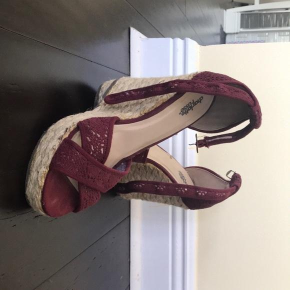 Shoes Burgundy Wedge Heels Poshmark
